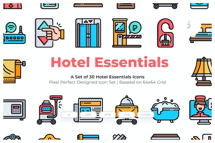 Thumbnail for 30 Hotel Essentials Icons