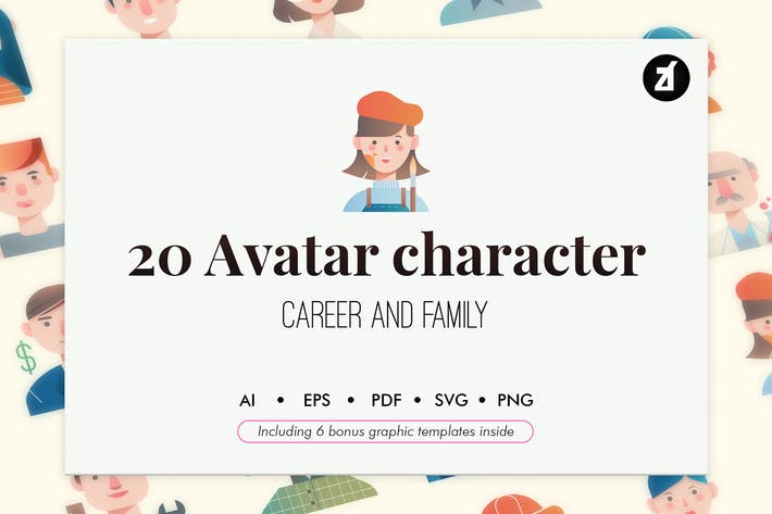 Thumbnail for 20 Avatar Characters with bonus graphic templates
