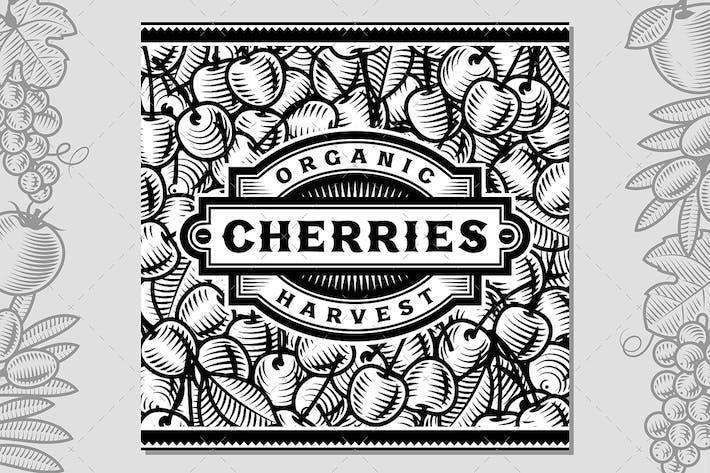 Thumbnail for Retro Cherry Harvest Label Schwarz Und Weiß
