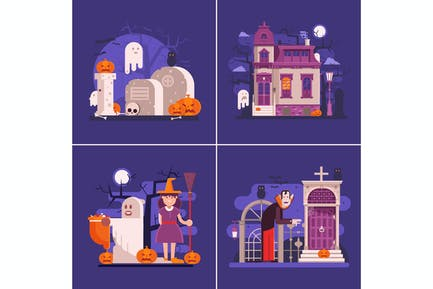 Halloween Night Banners with Scary Scenes