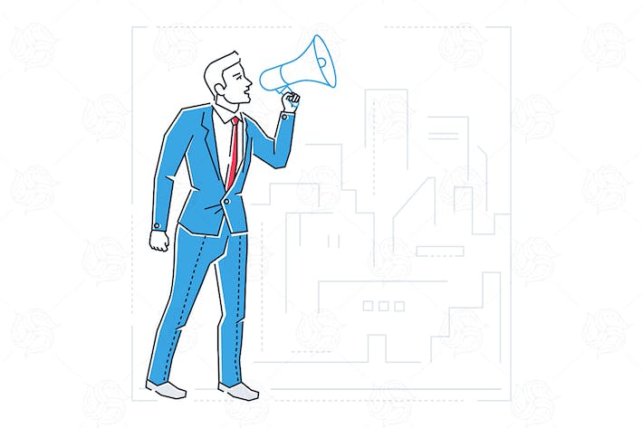 Thumbnail for Businessman with a megaphone - illustration