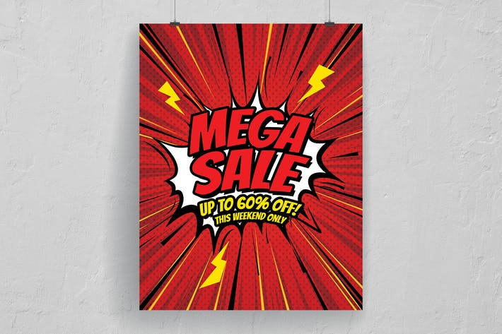 Thumbnail for Comic Style Mega Sale Poster And Flyer