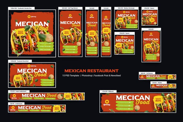 Thumbnail for Mexican Food & Restaurant Banners Ad