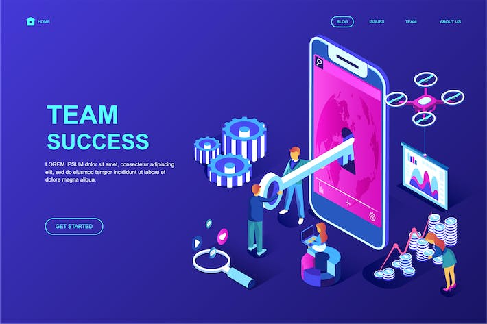 Thumbnail for Team Success Isometric Landing Page Template
