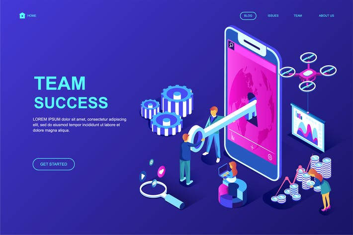 Cover Image For Team Success Isometric Landing Page Template