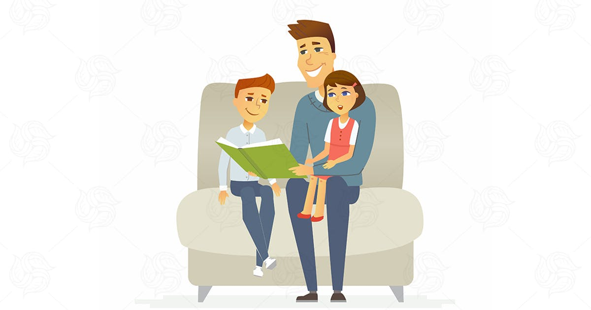 Download Father reads a fairytale - vector illustration by BoykoPictures