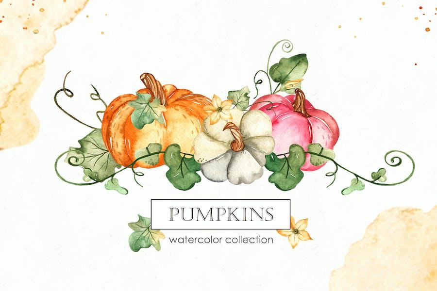 Watercolor Pumpkins. Cards, frames, patterns