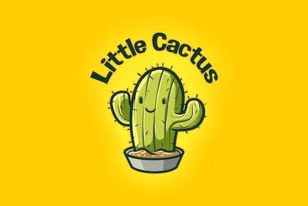 Cartoon Cute Little Cactus Mascot Logo