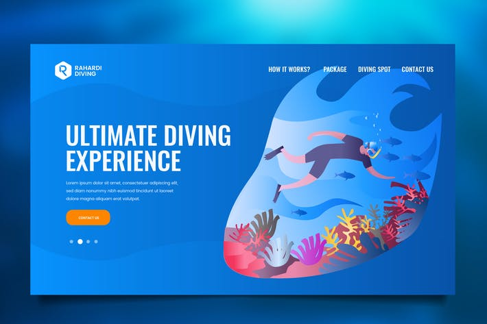 Thumbnail for Underwater Diving Web Header PSD & Vector Template