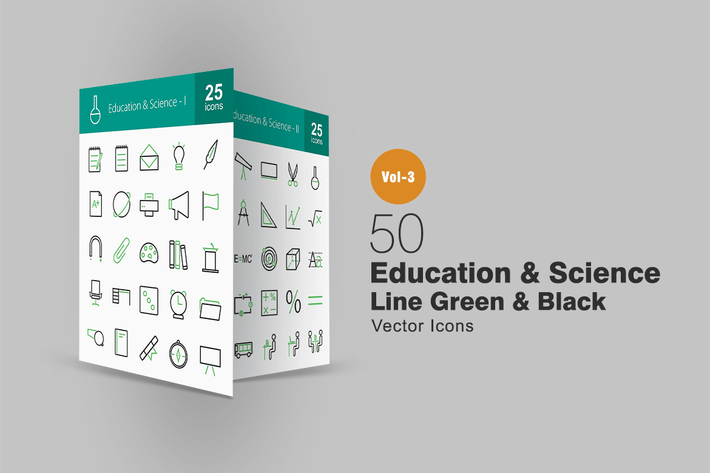 Thumbnail for 50 Education & Science Line Green & Black Icons