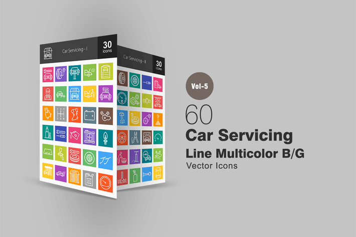 Thumbnail for 60 Car Servicing Line Multicolor Icons