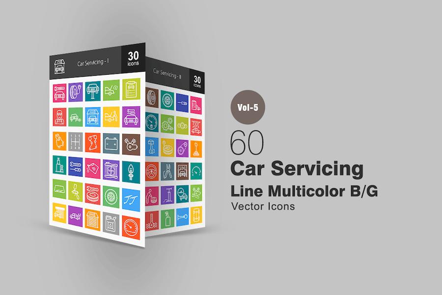 60 Car Servicing Line Multicolor Icons