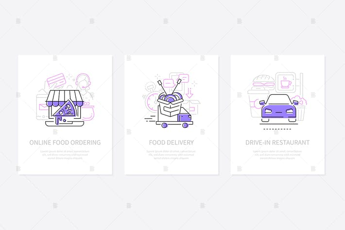 Thumbnail for Ordering food online - line design style banners