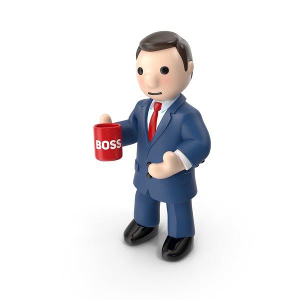 Cartoon Businessman with Tea Cup