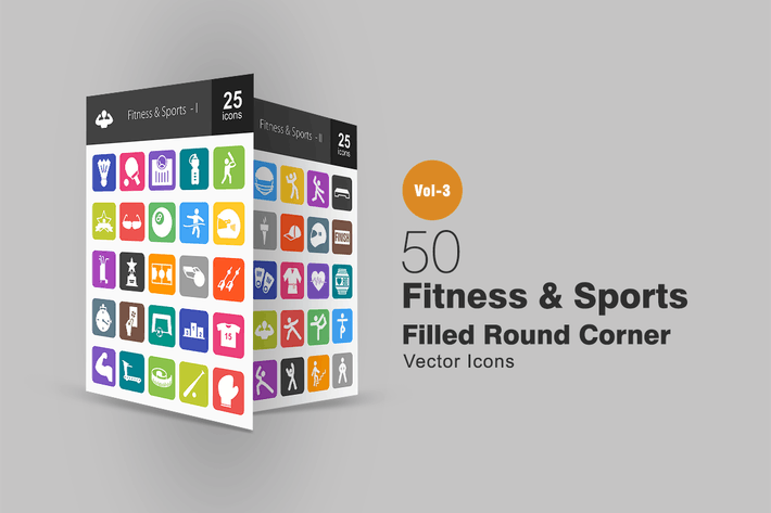 Thumbnail for 50 Fitness & Sports Flat Round Corner Icons