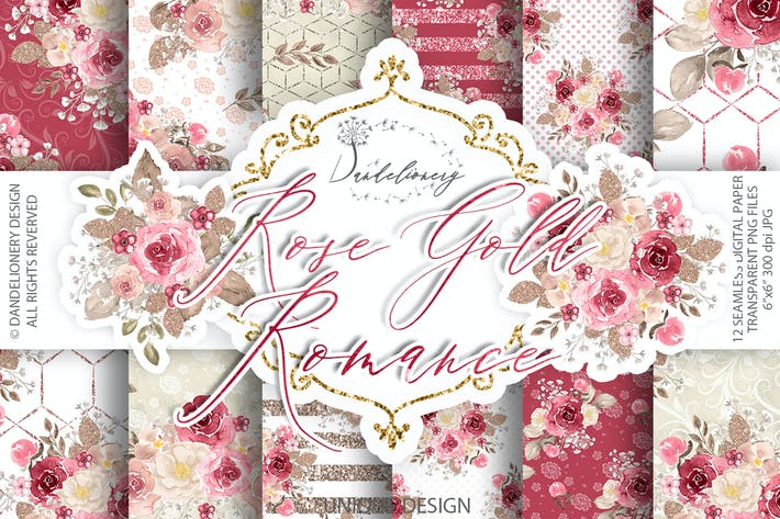 Thumbnail for Watercolor Rose Gold Romance digital paper pack
