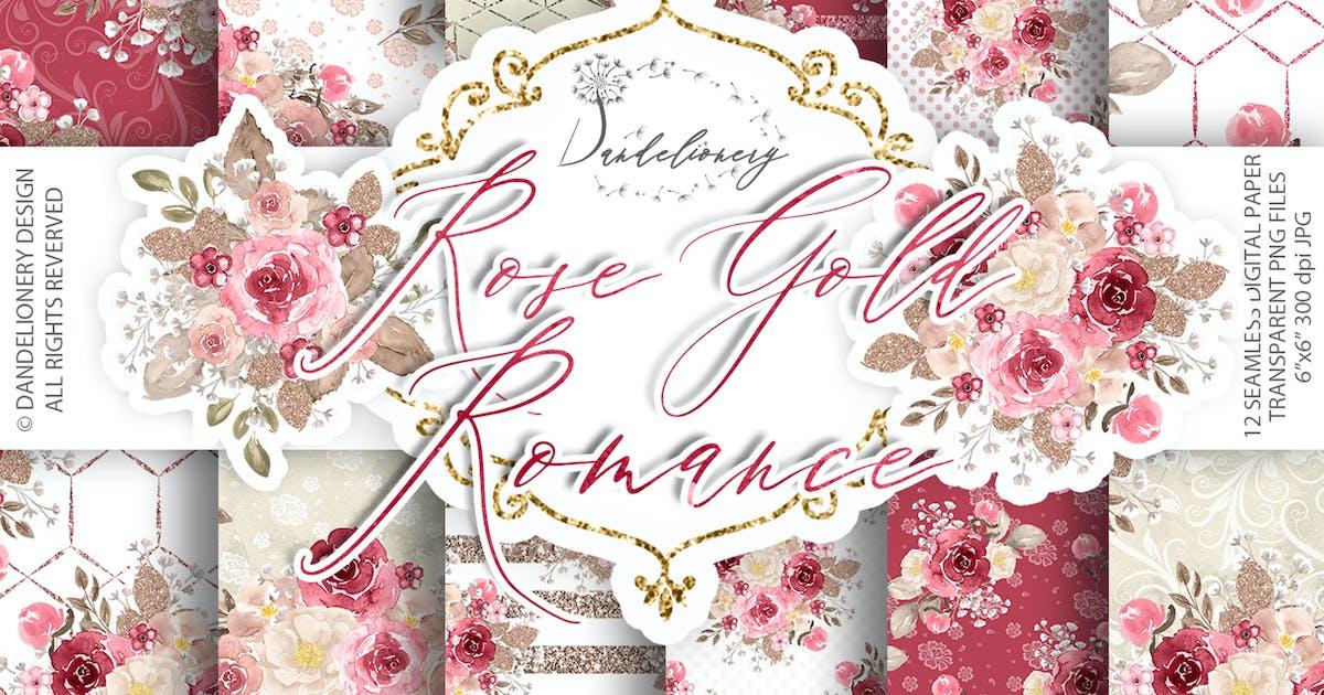 Download Watercolor Rose Gold Romance digital paper pack by designloverstudio