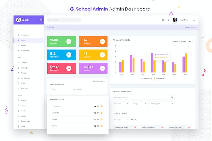 Thumbnail for School Admin Dashboard UI Kit