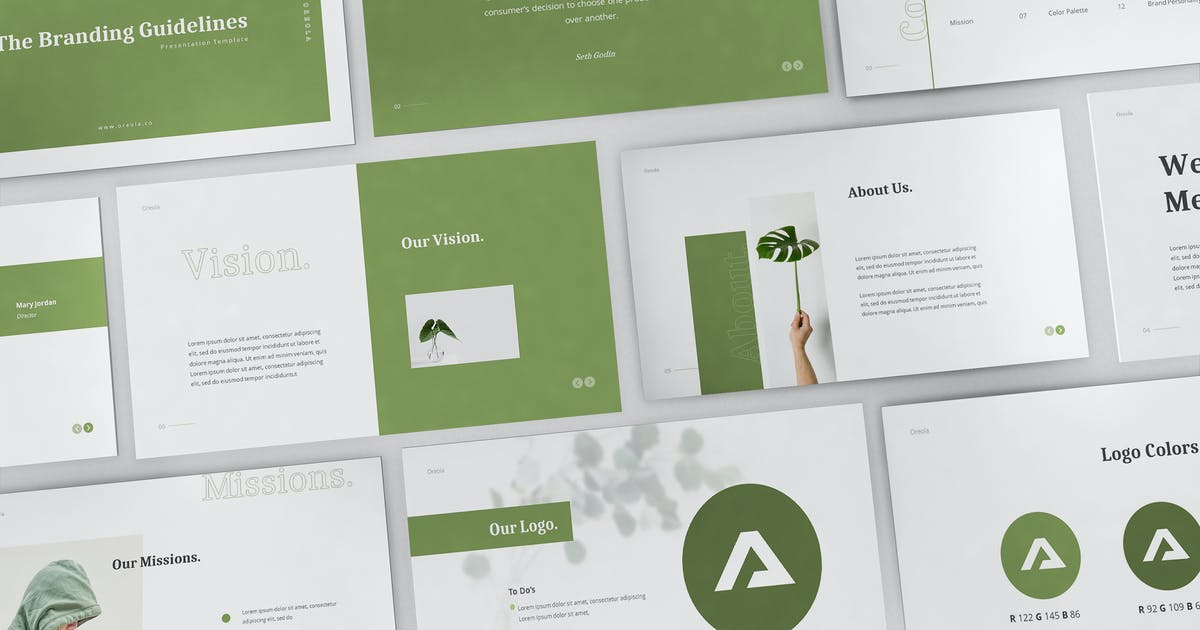 Download Oreola Branding Guidelines Powerpoint Template by giantdesign