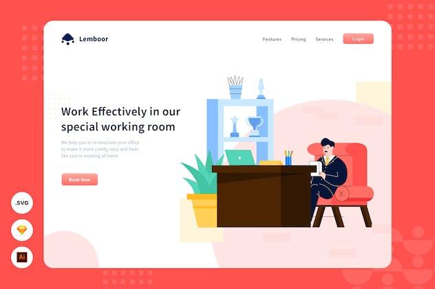 Work Hard - Website Header - Illustration
