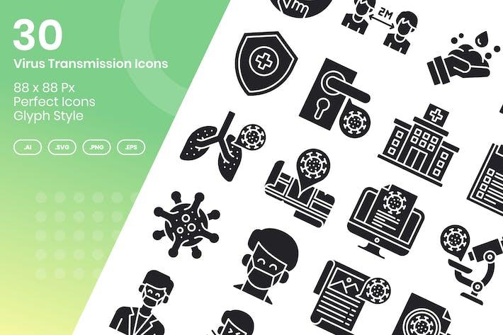 Thumbnail for Набор 30 Иконки передачи вируса - Глиф