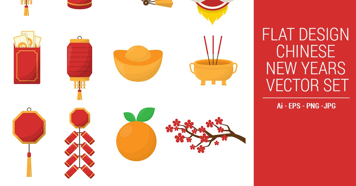 Download Flat Design Chinese New Years Vector Set Vol. 01 by CocoTemplates