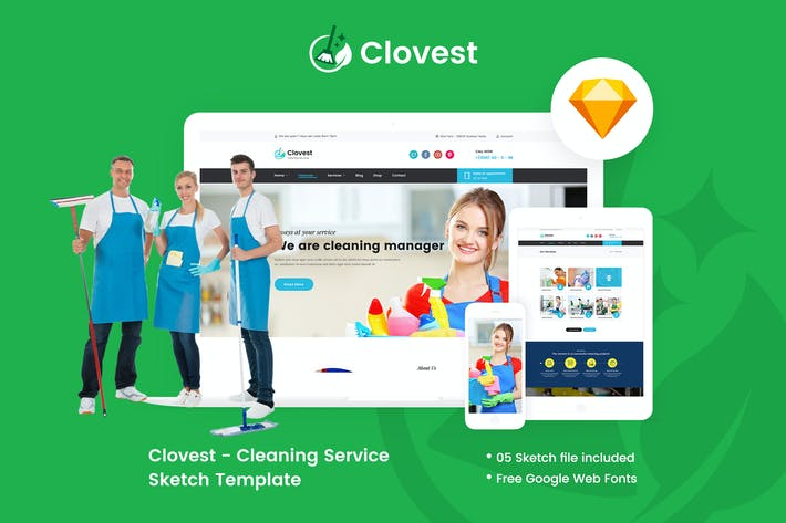 Thumbnail for Clovest - Cleaning Service Sketch Template