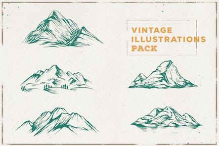 Vintage Mountain Illustration Pack