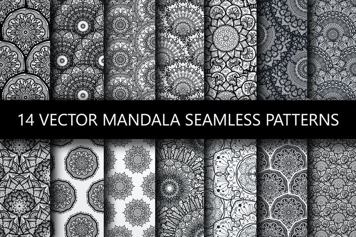 Thumbnail for Black White Mandala Seamless Patterns
