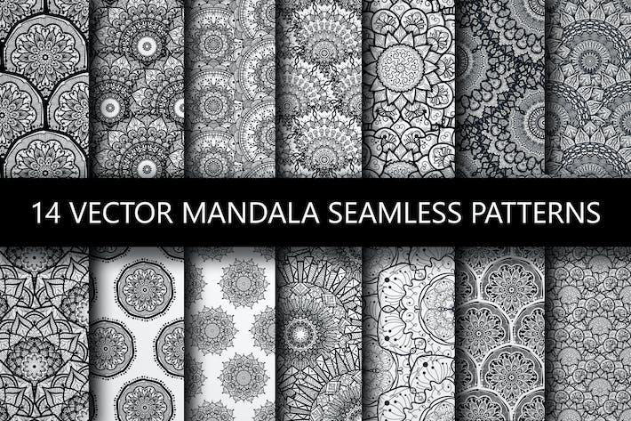 Schwarz Weiß Mandala Seamless Patterns