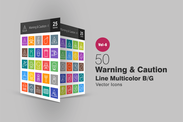 Thumbnail for 50 Warning & Caution Line Multicolor B/G Icons
