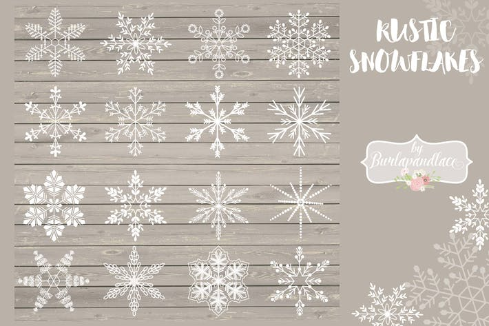 Cover Image For Rustic snowflakes cliparts