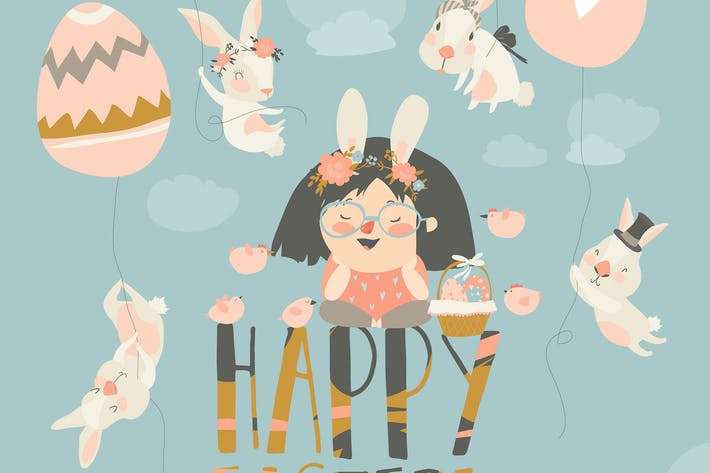 Thumbnail for Cute little girl with Easter bunnies. Happy Easter