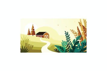 Beautiful scenery in the village illustration