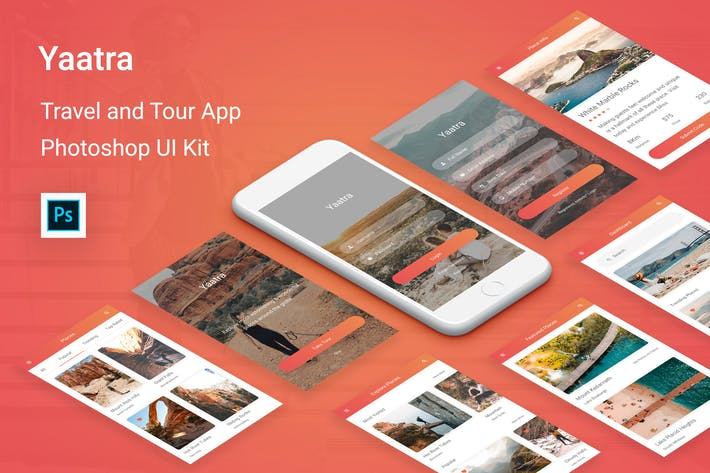 Cover Image For Yaatra - Travel & Tour UI Kit for Photoshop