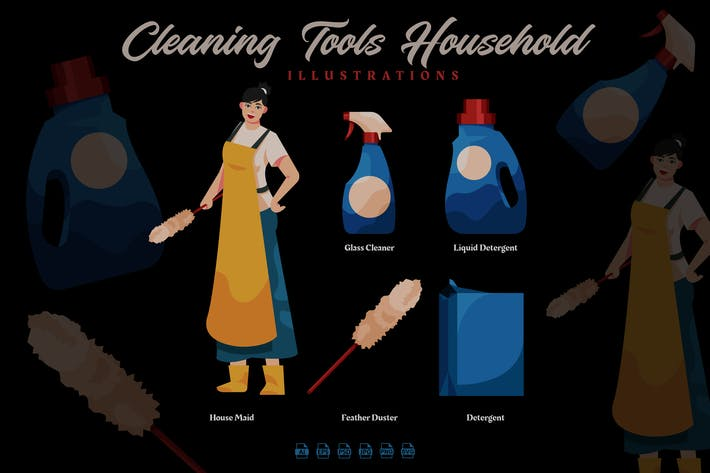 Thumbnail for Cleaning Tools Household - Illustrations