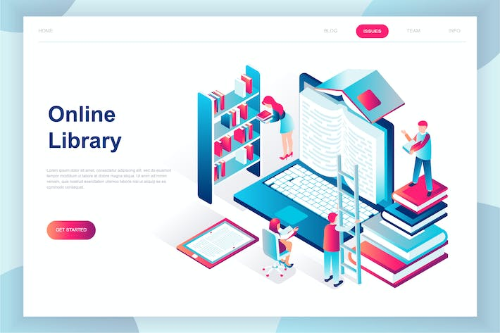 Thumbnail for Online Library Isometric Landing Page