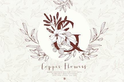 Kupfer Blumen und Alphabet