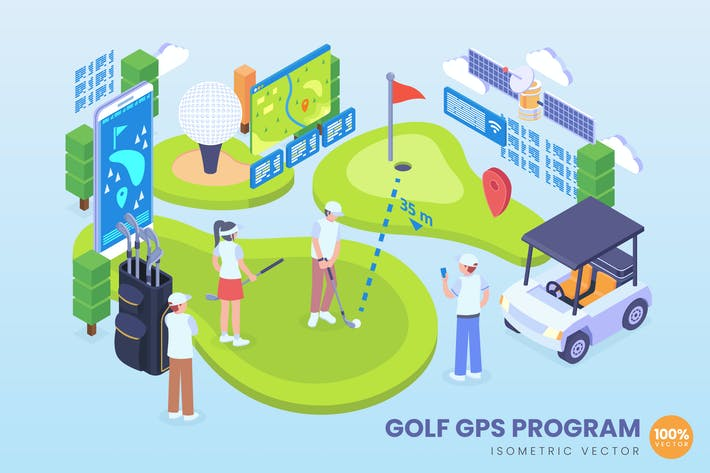 Isometric Golf GPS Program Vector Concept