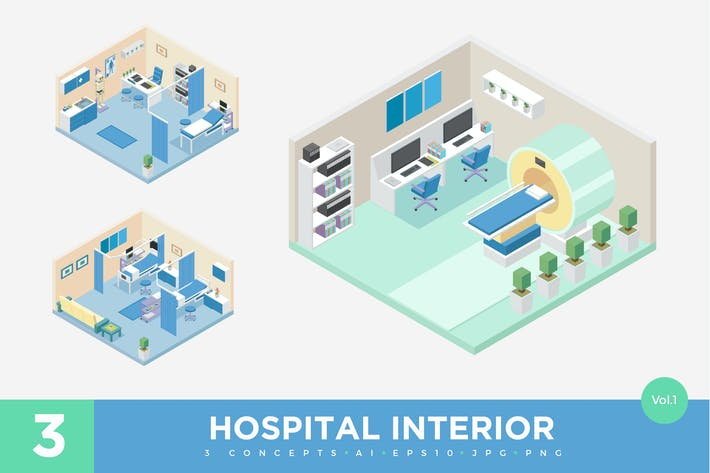 Thumbnail for 3 Isometric Hospital Clinic Interior Vector Set 1