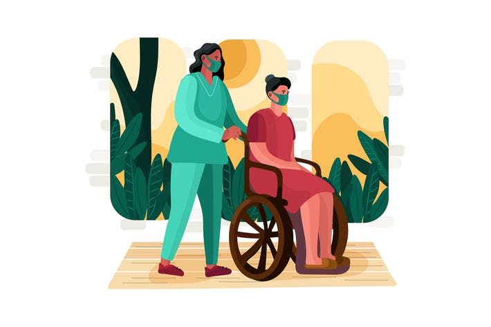 Nurse pushing wheelchair of patient