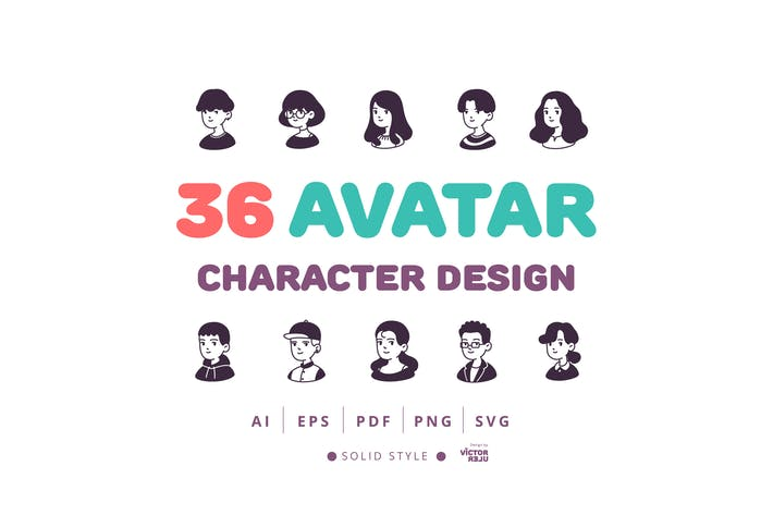 Thumbnail for 36 Avatar Character Design Solid Style Icons Pack