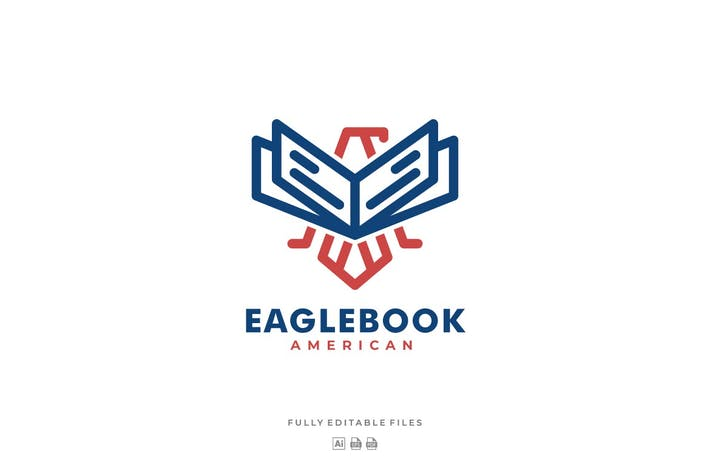Thumbnail for Eagle and Book Line Art Style Logo