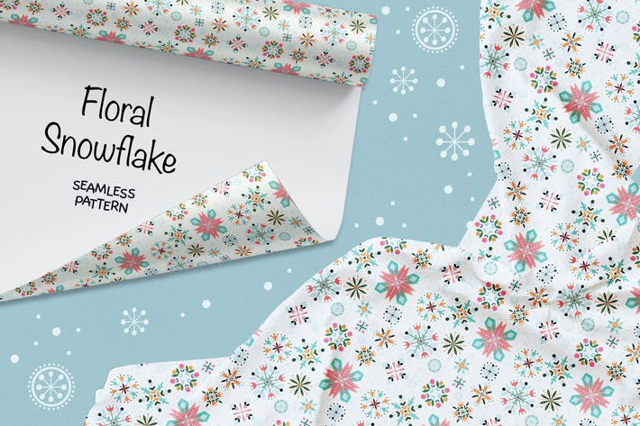 Thumbnail for Floral Snowflake seamless pattern