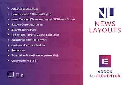 Presentaciones de noticias para Elementor WordPress Plugin