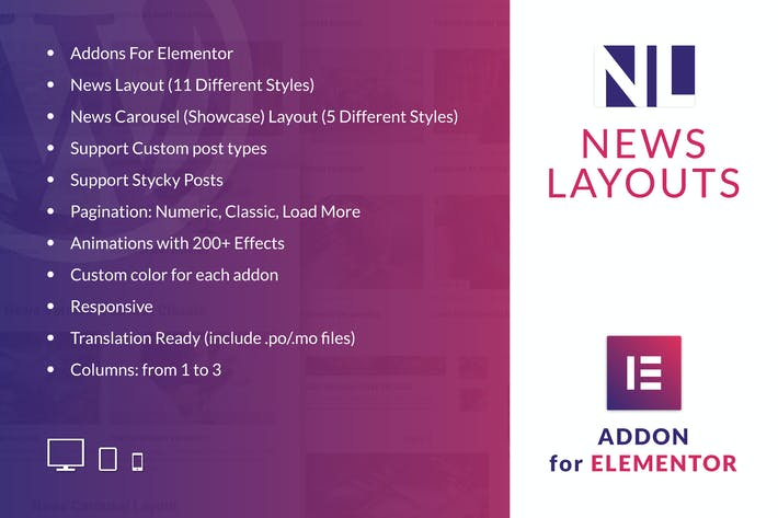 Thumbnail for News Layouts for Elementor WordPress Plugin