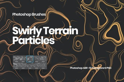 Swirly Terrain Particles Photoshop Brushes