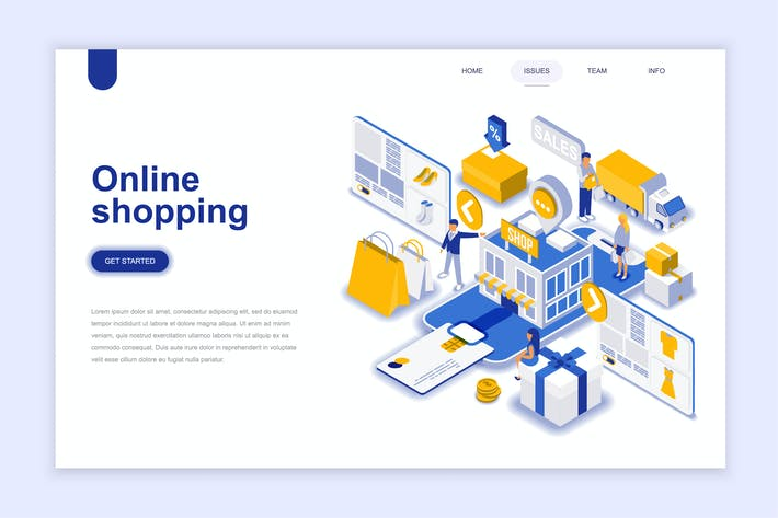 Thumbnail for Online Shopping Isometric Landing Page