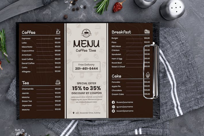 Thumbnail for Coffee & Tea Menu Template