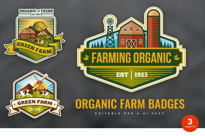 Thumbnail for Organic Farm PSD & AI Logo Badges Vol. 01